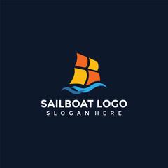 Abstract Sailboat Logo Design. Vector Illustrator Eps. 10