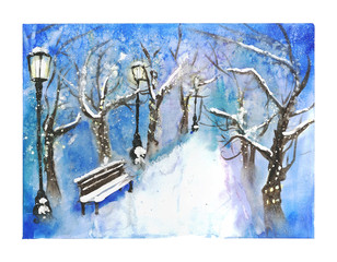 Snow-covered winter park view illustration