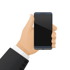 Modern high-tech smartphone is in the businessman's hand. Vector illustration isolated on a white background