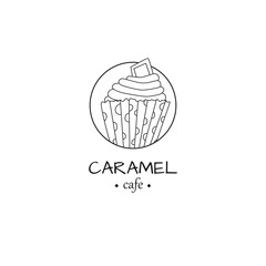 Cafe logo with cupcake in simple style