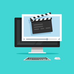 Movie or online cinema on computer concept vector illustration, flat cartoon design of clapper board video player on desktop pc, idea of video editor or film production, cinematography equipment