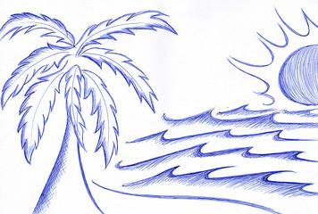 palma disegno a penna