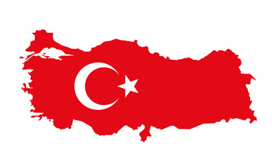 vector illustration of turkey flag and map
