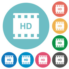 HD movie format flat round icons