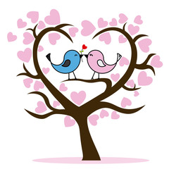 Couple of birds in tree. Valentines day card