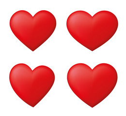 Perfect red hearts set - stock vector.