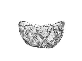 crystal vase salad bowl, closeup isolated on white background