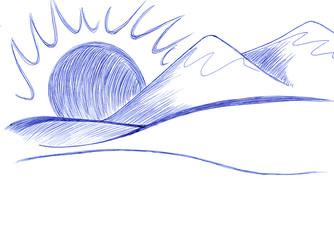 Montagne disegno a penna