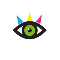 Vector sign eye, green iris and eyebrows in CMYK