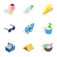 Traveling icons, isometric 3d style