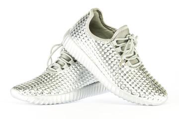 Fancy sneakers in metallic silver color