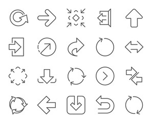 Fototapeta Linear Arrow icons. Set of Download, Synchronize and Recycle signs. Undo, Refresh and Login symbols. Sign out, Next and Upload. Universal Arrow elements. Quality design elements. Editable stroke obraz