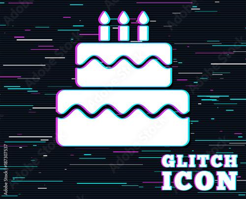 Birthday Cake Sign Icon With Burning Candles Symbol Background