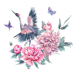 Watercolor nature card with crane and pink peonies