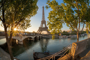 Eiffel Tower during sunrise in Paris, France