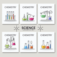 set of scientific laboratory research cards. Chemistry