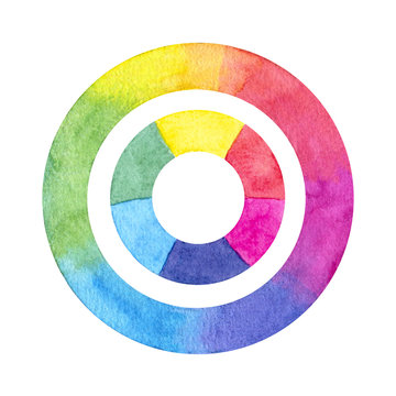 Hand painted watercolor color wheel circles isolated on the white background.