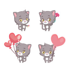 Cute gray cat collection with Valentine theme