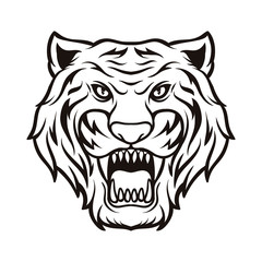 Tiger Silhouette Black and White Animal Logo Vector Icon