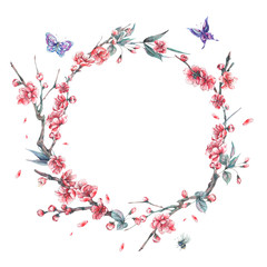 Watercolor spring round frame, blooming cherry