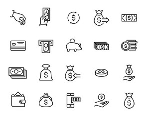 Simple collection of payment related line icons.