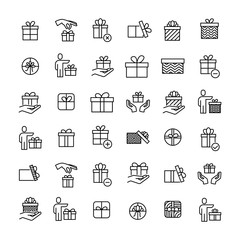 Modern outline style gift icons collection