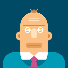 Vector business concept in flat style. Dollars in eyes.