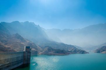 Foggy landscape of a reservoir