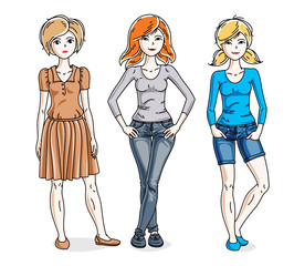 Happy young women group standing wearing casual clothes. Vector diversity people illustrations set.