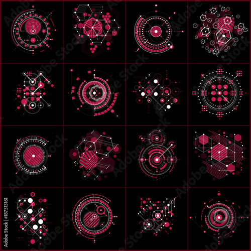 Set Of Vector Abstract Backgrounds Created In Bauhaus Style Geometric Backdrops Engineering Technology Wallpapers