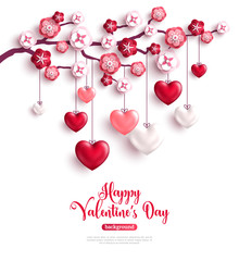 Valentines Day concept with hearts on tree