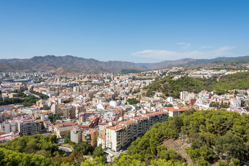 Malaga city panorama, as seen form Gibralfaro castle