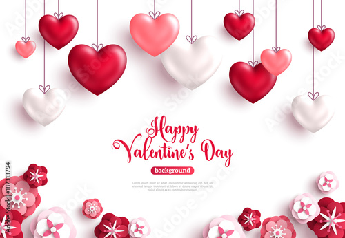 Valentine S Day Background With Paper Cut Flowers Stock Image And