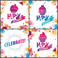 Happy Birthday joyful and bright vector greeting cards set. Includes beautiful lettering and cupcake composition placed over blurred circles abstract background. Square shape format