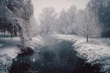 Snow along the river
