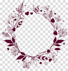 Round frame floral ornament on transparent background. Flowers and leaves, butterfly summer season