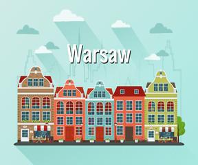 Vector illustration of Warsaw, Poland city. Flat design.
