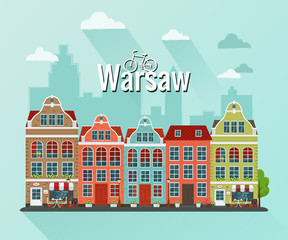 Vector illustration of Warsasw. Flat design. Old houses.