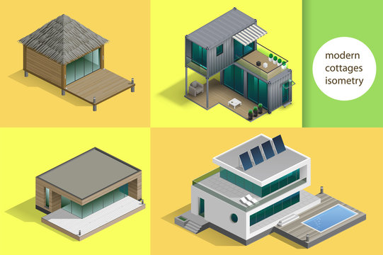 Set of modern cottages and houses in isometric schemes. Vector graphics