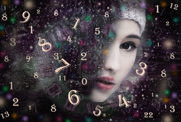 Woman face and numerology