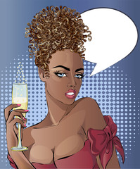 Pin up style sexy Afro woman portrait with glass of champagne, curly girl with speech bubble, vector illustration