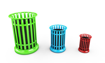 colorful recycle bins isolated on white background 3d render