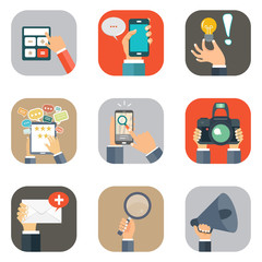 Hands with business object icons set. Flat vector illustration