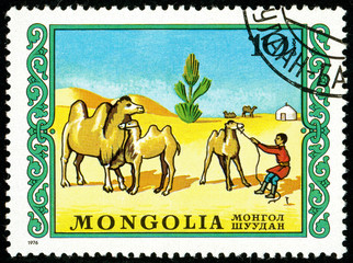 Ukraine - circa 2018: A postage stamp printed in Mongolia shows drawing Bactrian Camels, Camelus bactrianus in Gobi Desert. Series: International Children Day. Circa 1976.