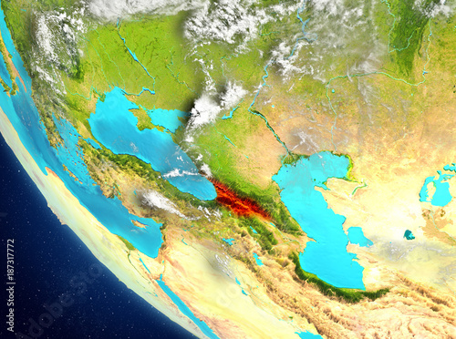 Satellite Map Of Georgia.Satellite View Of Georgia In Red Stock Photo And Royalty Free
