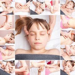 Girl receiving chiropractic or  osteopathic manual treatment collage