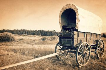 Obraz Vintage american western wagon, sepia vintage process, West American cowboy times concept - fototapety do salonu