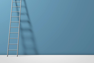 Step ladder against a wall. Growth, future, development concept. 3D Rendering