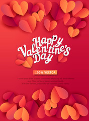 Vector illustration for Valentine's Day. Hearts carved from paper, on a red background with text. Template for a greeting card for the Day of All Lovers.