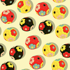 chinese balls seamless pattern in multicolored shades